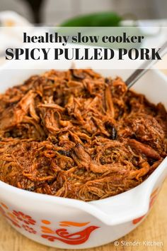 This Healthy Slow Cooker Spicy Pulled Pork will quickly become one of your favorite recipes for a crowd.