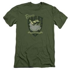 BEETLE BAILEY/ON DUTY-S/S ADULT 30/1-MILITARY GREEN