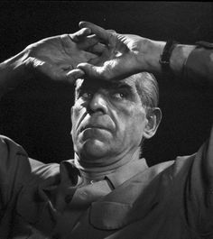 """Boris Karloff (actor) 1946, by Yousuf Karsh. """"There is a brief moment when all there is in a man's mind and soul and spirit is reflected through his eyes, his hands, his attitude. This is the moment to record."""""""