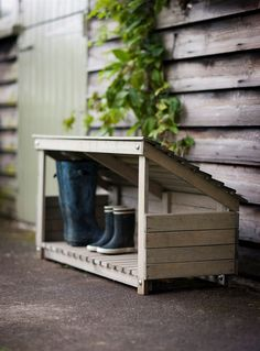Garden Ideas Wellie Store - Wooden - good idea for back door but make it ourselves? … - Whether or not you have the luxury of a proper garden shed, you can still create a stylish and practical piece of garden storage - as these ideas demonstrate! Boot Storage, Outdoor Storage, Outside Storage, Garage Storage, Storage Rack, Garden Cottage, Home And Garden, Garden Shop, Box Garden