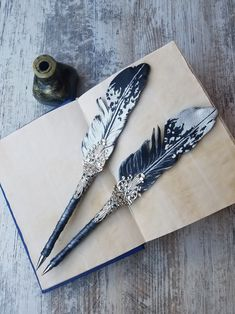 Quill And Ink, Dog Pen, Arc Notebook, Silhouette Cameo Tutorials, Calligraphy Pens, Calligraphy Handwriting, Penmanship, Feather Crafts, Feather Pens