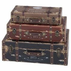 """Stylishly stow photographs, trinkets, and accessories with this 3-piece trunk set, showcasing suitcase-inspired silhouettes and charming Italian typographic motifs.   Product: 3-Piece trunk setConstruction Material: Wood and cotton Color: MultiFeatures: Distressed detailing Dimensions: Small: 4"""" H x 18"""" W x 8"""" DMedium: 6"""" H x 21"""" W x 11"""" DLarge: 8"""" H x 23"""" W x 14"""" D"""