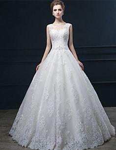 Ball+Gown+Wedding+Dress+-+Ivory+Sweep/Brush+Train+Jewel+Lace...+–+USD+$+239.99