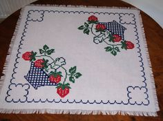 Cute Polish white hand embroidered square floral traycloth Multicolour Strawberries Embroidery White Table top dresser scarf fringes fruits by VintagePolkaShop on Etsy