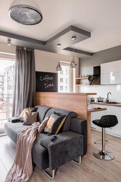Home Design Decor, House Design, Interior Design, Home Decor, Small Space Design, Small Spaces, Deco Studio, Living Room Orange, Small Apartments