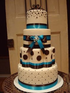 Teal, Brown and White Wedding By stephivey on CakeCentral.com