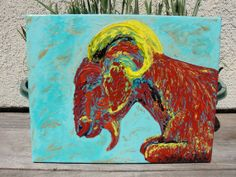 LIKE THE TURQUOISE.  The Celestial Goat An Original Painting by surfnow on Etsy, $150.00