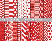 INSTANT DOWNLOAD paper pack digital download red cherry basics - stars, chevron, stripes, polka dots printable, scrapbook