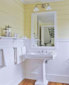 love the bead board and the shelf & towel bar below near sink--great use of space