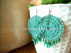 Orecchini uncinetto con perline, per informazione ⇩ http://coccinellecreative.blogspot.it/2013/09/orecchini-pendenti-uncinetto-con.html