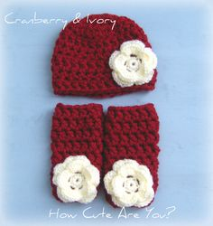 Baby Girl Hat and Leg Warmers Set  Chunky Crochet - Photo Prop- Many Colors - Newborn to 6 Months. $36.90, via Etsy.