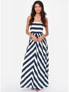 Blue White Stripe Backless Dress