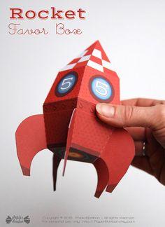 Personnalized Rocket favor box printable space by PapierBonbon