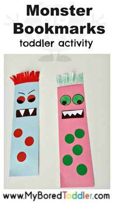 Monster Bookmark Craft - My Bored Toddler Halloween Crafts