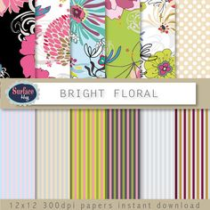 Digital paper BRIGHT FLORAL background paper Pink by SurfaceHug, $4.80