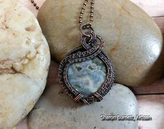 Blue Ocean Jasper Pendant Wire Wrapped Oxidized Bare Copper