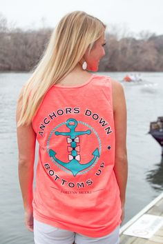 "BRAND NEW TANK - ""Anchors Down, Bottoms Up"" - So perfect for Spring Break! WWW.JADELYNNBROOKE.COM"