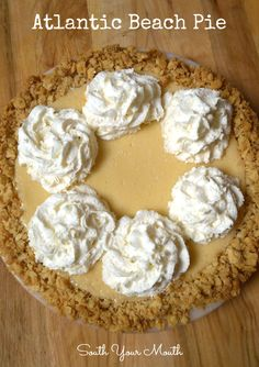 Atlantic Beach Pie is a tart lemon pie with a thick saltine crust topped with whipped cream or meringue sprinkled with sea salt.