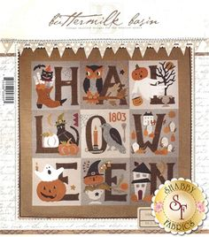 """Get your home ready for Halloween with this adorably spooky Merrie Halloween Quilt designed by Buttermilk Basin! This quilt features pumpkins, crows, owls & ghosts! Finishes to 42"""" x 42""""."""