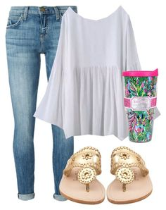 """elizabeth//"" by preppylillygirls ❤ liked on Polyvore featuring Current/Elliott, Jack Rogers and Lilly Pulitzer"