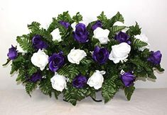 XL Purple And White Roses Artificial Silk Flower Cemetery Tombstone Grave Saddle Crazyboutdeco Cemetery Flowers