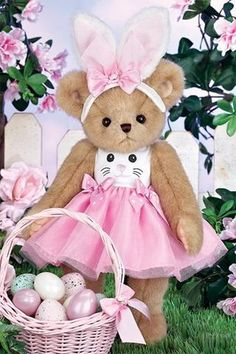 Beary Cottontail is in height. On the top part of her head, she is wearing a pair of bunny ears with a pink bow in the middle and a small rose design in the Fluffy Teddy Bear, Cute Teddy Bears, Easter Bunny Ears, Bunnies, Teddy Bear Cartoon, Bear Art, Teedy Bear, Bunny Face, Bear Wallpaper