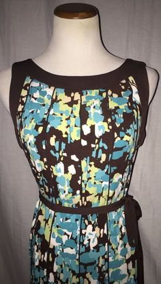 Sandra Darren Multi Color Chocolate Stretch Brown Blue Abstract Print Dress 8P #SandraDarren #Sundress #Casual
