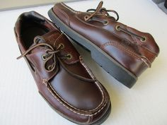 Sperry Top sider men shoes size 8 M Brown Leather #SperryTopSider #BoatShoes