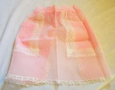 Vintage Apron, Pink Apron with Lace, Half Apron, Vintage Apron, hostess apron, Sheer Apron,Pink Sheer Apron by VintagePlusCrafts on Etsy