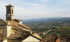 Rooftops and landscape Barolo, Langhe, Italy