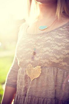 Cottonwood Leaf Gold Necklace by SashaGems
