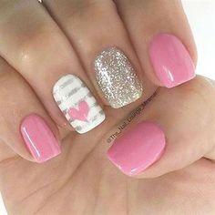 pretty nail art designs for valentine's day Heart Nail Designs, Valentine's Day Nail Designs, Simple Nail Designs, Nails Design, Salon Design, Pink Nail Art, Pink Nails, Pink Manicure, Fancy Nails