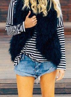 Faux fur vests + cutoffs.