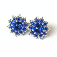 Sparkling+Flowers+Swarovski+Earrings+by+aaalenka+on+Etsy,+$20.00