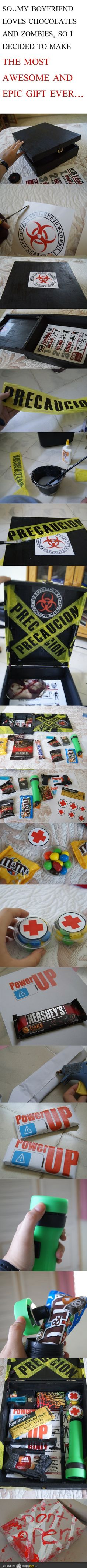 Chocolate Zombie Survival Kit... Eoin will be getting this on our next celebration!