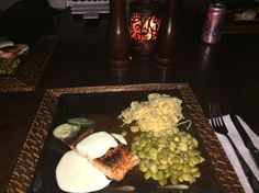 Salmon with homemade cucumber dressing with lima beans and pasta
