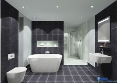 LED bathroom mirrors: Modern bathroom with mirror with LED lighting