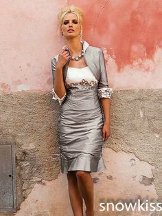 2015 Gray Taffeta Sheath Silver Gray Knee-Length Short  Mother of bride dresses evening Party Gown For Wedding With Jacket