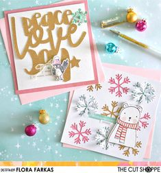 Five minutes christmas cards with cut files                    Pink and Paper