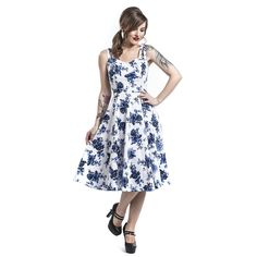 Blue Rosaceae Swing Dress Medium-length dress – Buy now at EMP – More Rockabilly Romance Special Occasions Fashion & style available online - Unbeatable prices! Emp Shop, Seductive Dress, Blue Roses, Rosacea, Swing Dress, Special Events, Birthdays, Floral Prints, White Dress