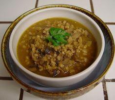Mushroom Barley Soup Crockpot:  barley, mushrooms, onion, garlic, salt, stock, soy sauce, butter