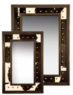 Black and White Cowhide Mirror Western Mirrors