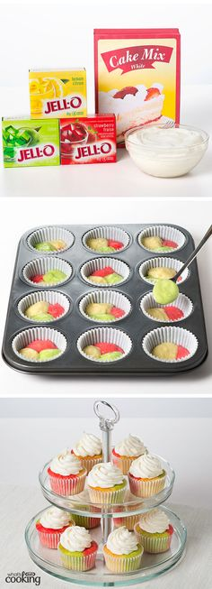 Tie-dye Fruity Cupcakes #recipe