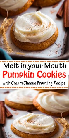 Melt in your Mouth Pumpkin Cookies with Cream Cheese Frosting Recipe - easy healthy dessert recipes - Recetas Desserts Sains, Köstliche Desserts, Healthy Dessert Recipes, Delicious Desserts, Recipes Dinner, Pumpkin Recipes Snacks, Recipes For Sweets, Pumkin Cookies Recipes, Easy Yummy Recipes