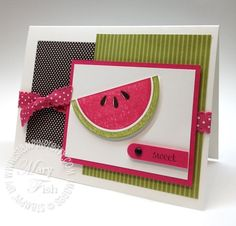 Mouthwatering graphic bold look.  Designed by Mary Fish, Independent Stampin' Up! Demonstrator. Details, supply list and more card ideas on http://stampinpretty.com/2012/02/stampin-up-watermelon-slice-wow-video-tutorial.html