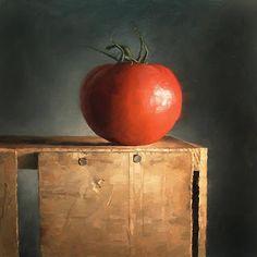 """Tomato Pedestal"" - Original Fine Art for Sale - ©Michael Naples American Academy Of Art, Still Life 2, Still Life Flowers, Food Painting, Z Arts, High Art, Drawing Lessons, Art Of Living, Still Life Photography"