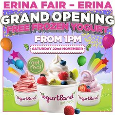 """@yogurtlandau's photo: """"Yogurtland Erina Fair Grand Opening!  #Free #froyo on a very special and fun day! Stay connected and don't miss out!  Want to work with us? Apply now online for positions at the new Erina Fair. Visit http://www.yogurtlandaustralia.com.au/careers for more details.  Yogurtland Erina Fair: Terrigal Drive, Erina, NSW 2250"""""""
