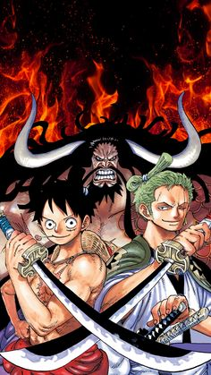 Luffy, Zoro and Kaidou Manga Anime One Piece, Anime D, Zoro One Piece, One Piece 1, Roronoa Zoro, One Piece Drawing, Film D'animation, Animes Wallpapers, Anime Characters