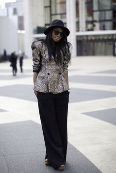 vintage blouse with H&M pants and hat.