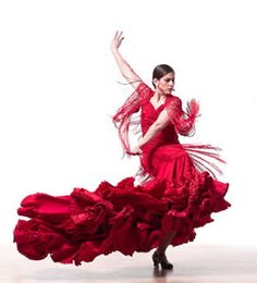 Flamenco dancer in red dress Flamenco Costume, Flamenco Dresses, Flamenco Skirt, Spanish Dancer, Spanish Fly, Study Spanish, Spain Culture, Dance Movement, Dance Poses